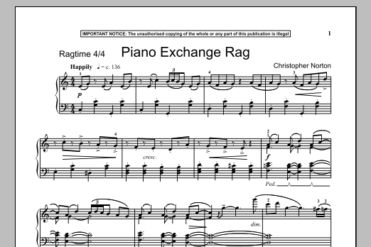 Christopher Norton Piano Exchange Rag sheet music notes and chords. Download Printable PDF.