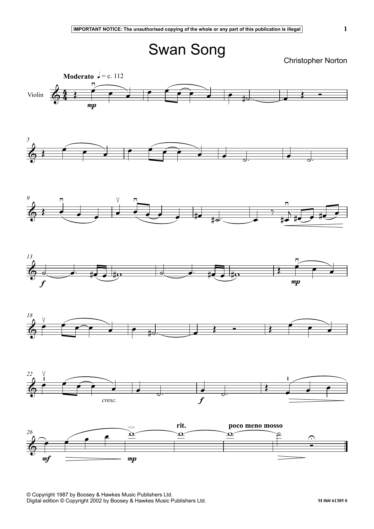 Christopher Norton Swan Song sheet music notes and chords. Download Printable PDF.