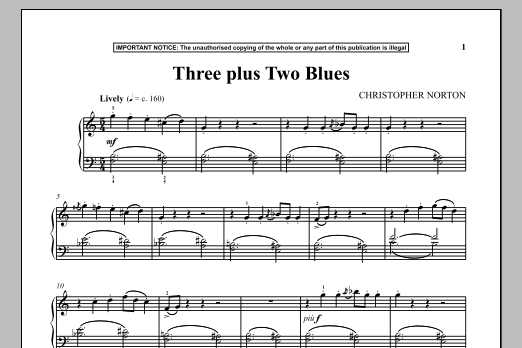 Christopher Norton Three Plus Two Blues sheet music notes and chords. Download Printable PDF.