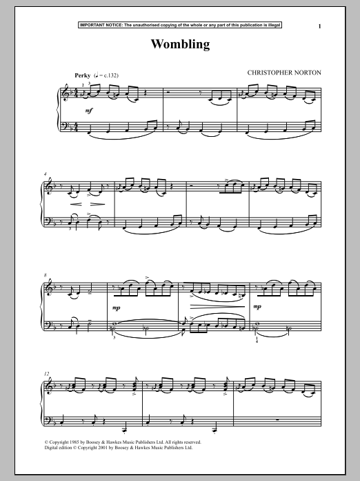 Christopher Norton Wombling sheet music notes and chords. Download Printable PDF.