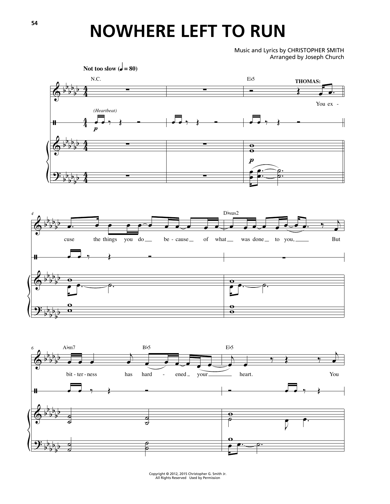 Christopher Smith Nowhere Left To Run sheet music notes and chords. Download Printable PDF.