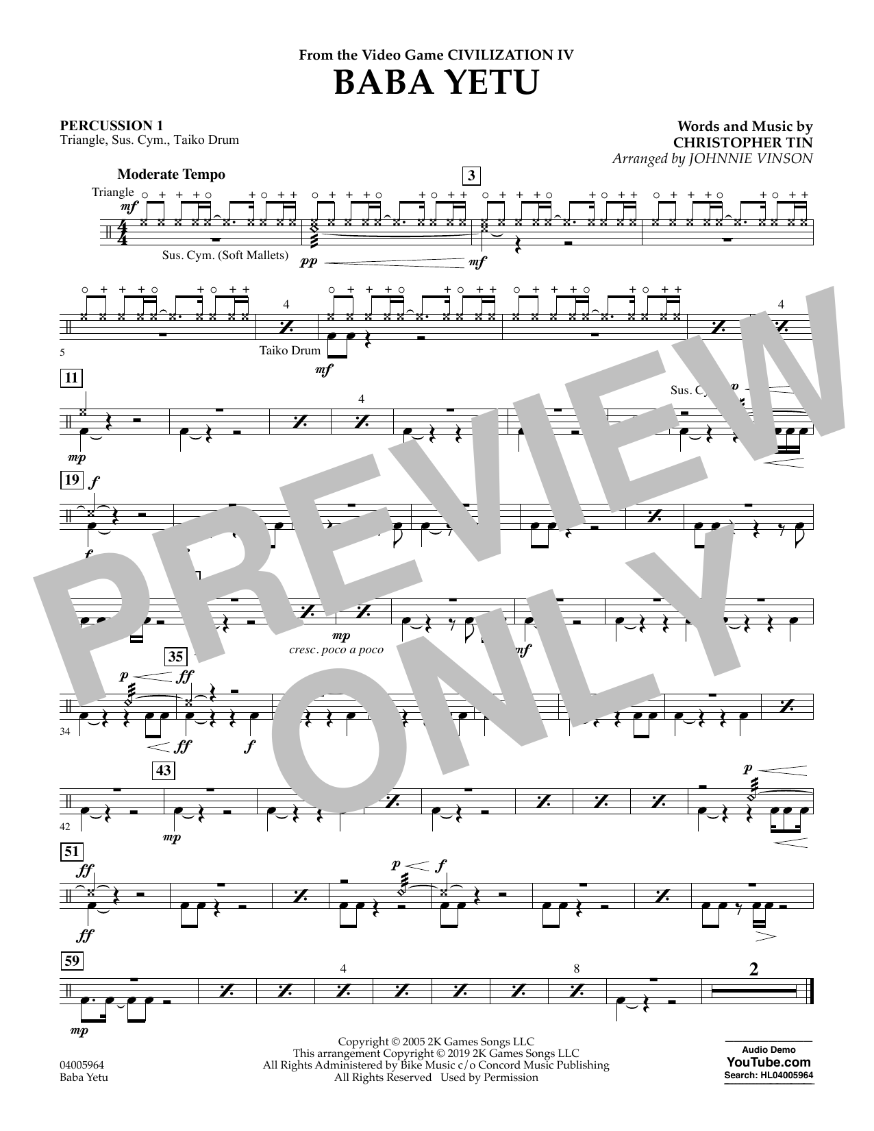 Christopher Tin Baba Yetu (from Civilization IV) (arr. Johnnie Vinson) - Percussion 1 sheet music notes and chords. Download Printable PDF.