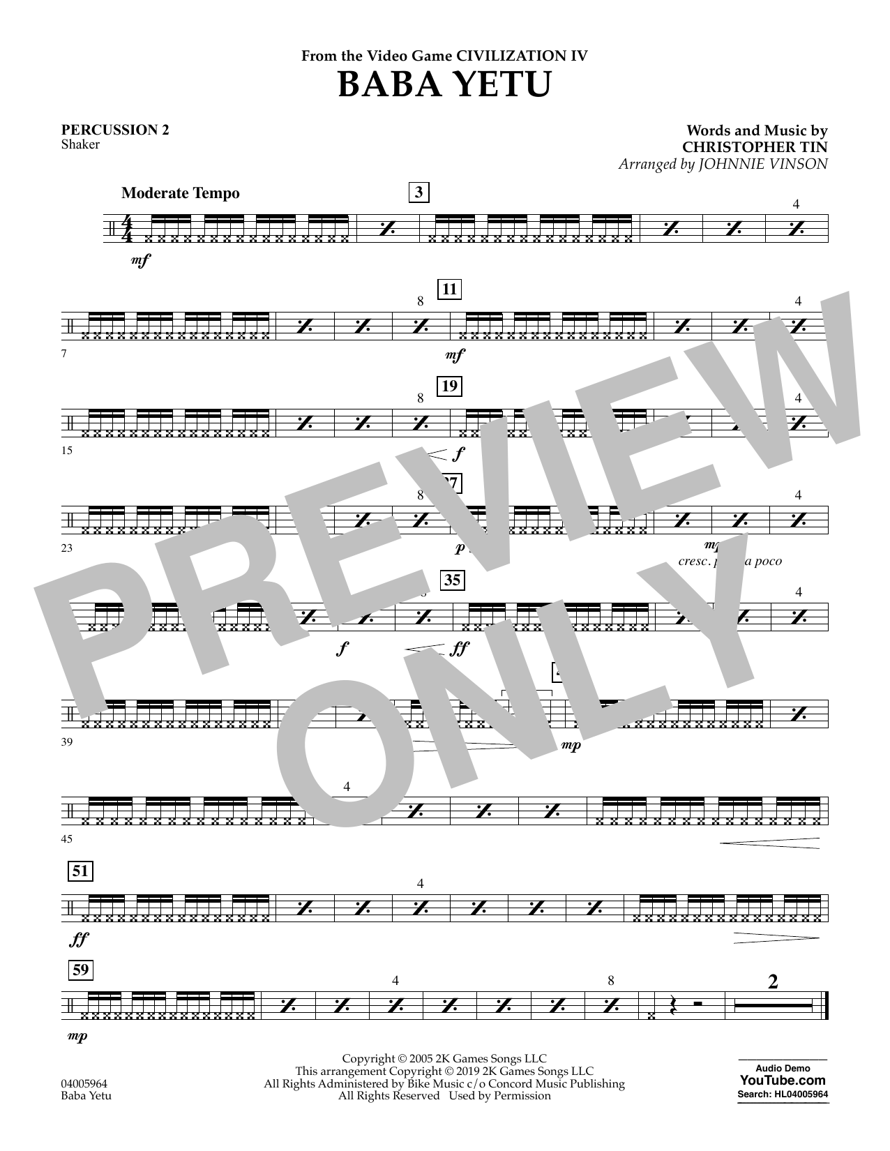 Christopher Tin Baba Yetu (from Civilization IV) (arr. Johnnie Vinson) - Percussion 2 sheet music notes and chords. Download Printable PDF.