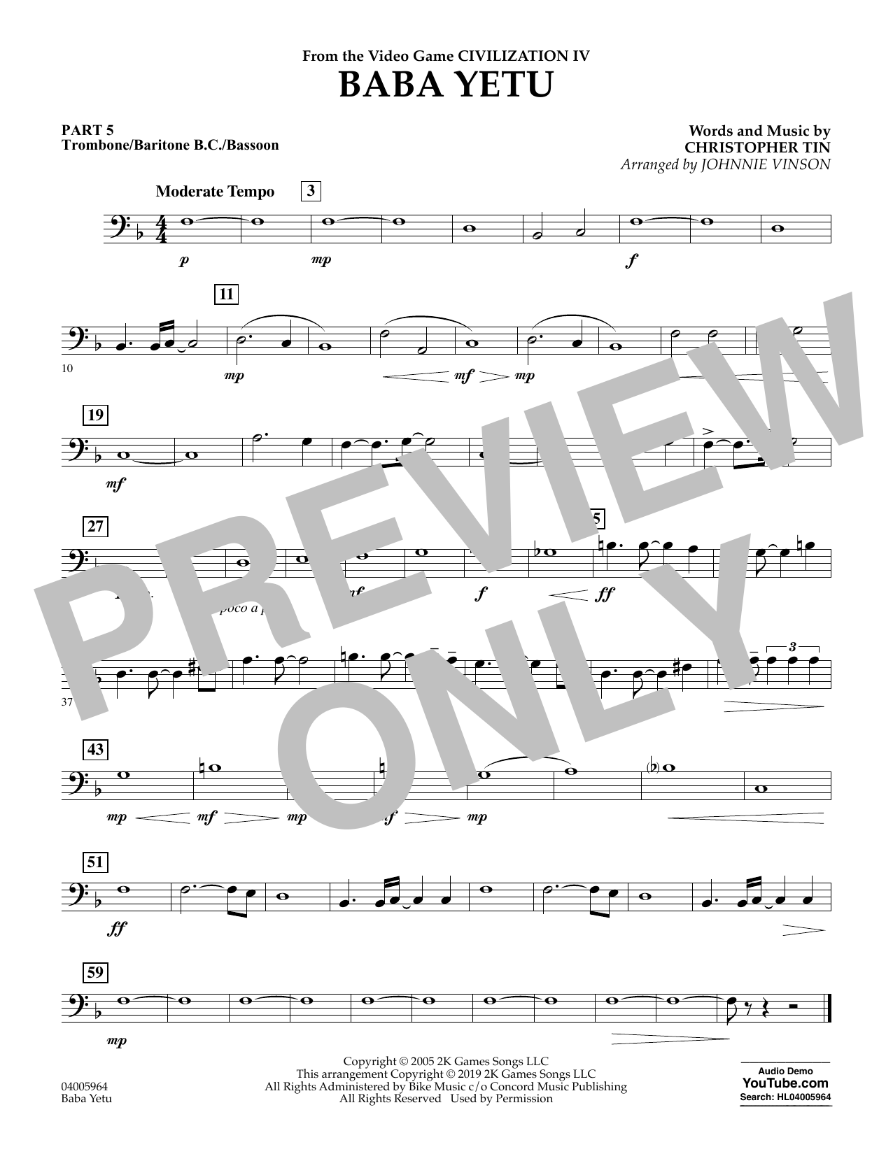 Christopher Tin Baba Yetu (from Civilization IV) (arr. Johnnie Vinson) - Pt.5 - Trombone/Bar. B.C./Bsn. sheet music notes and chords. Download Printable PDF.