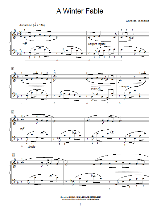 Christos Tsitsaros A Winter Fable sheet music notes and chords. Download Printable PDF.