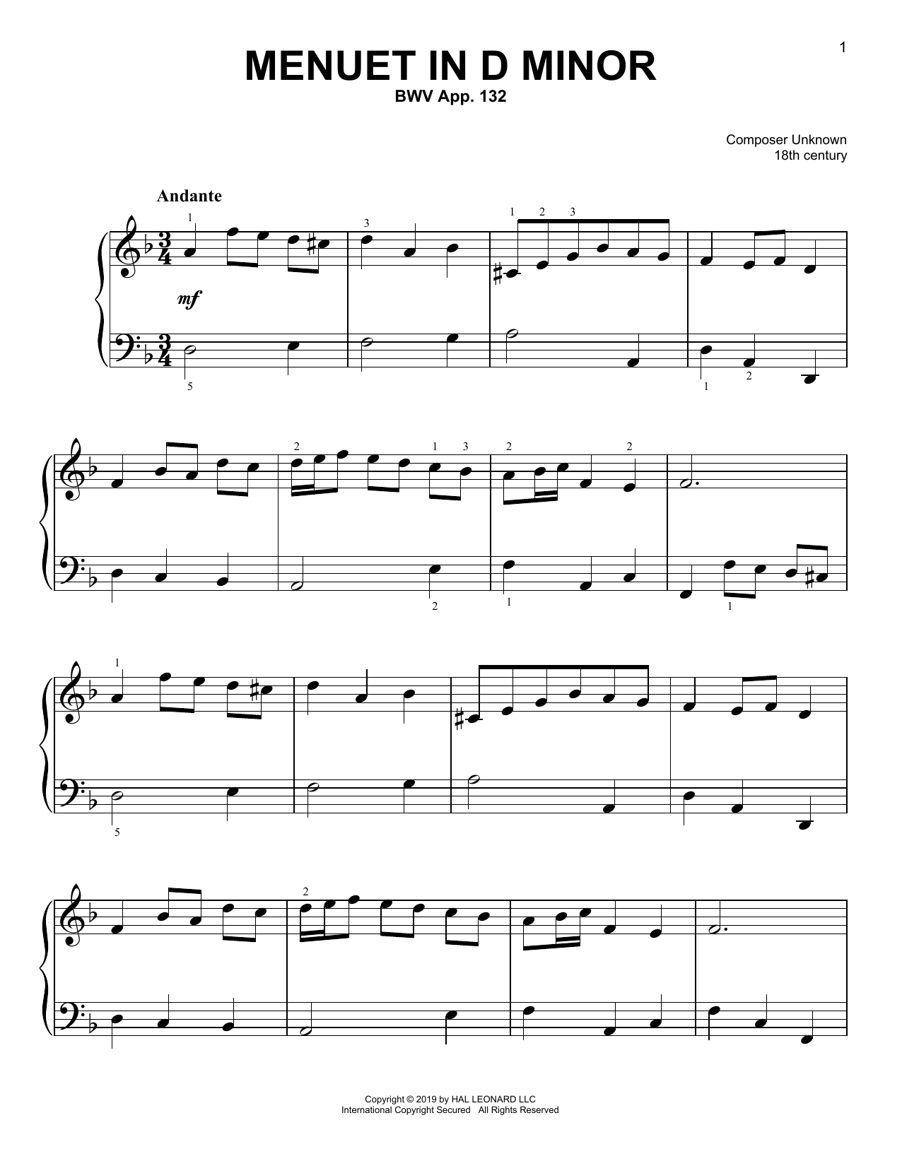 Christos Tsitsaros Menuet In D Minor, BWV App. 132 sheet music notes and chords. Download Printable PDF.