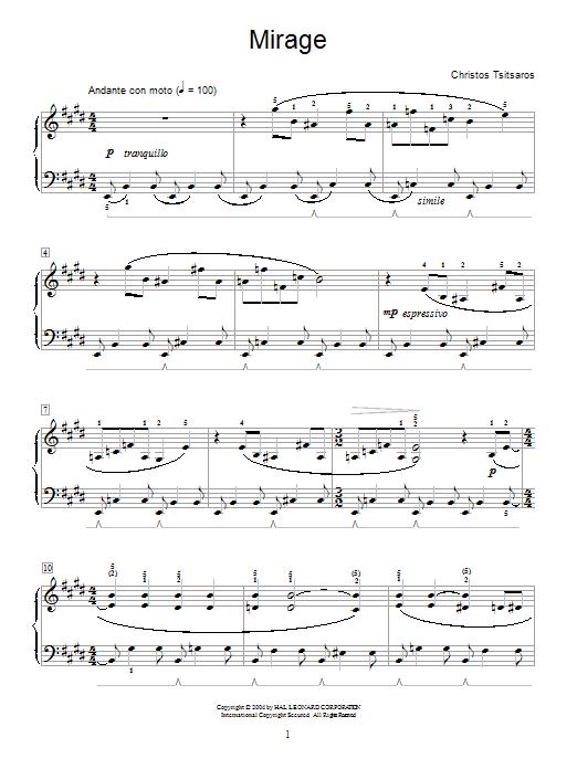 Christos Tsitsaros Mirage sheet music notes and chords. Download Printable PDF.