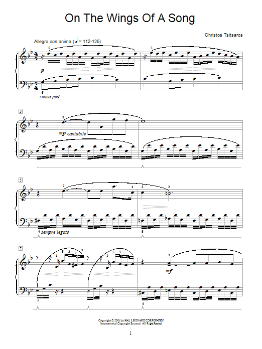 Christos Tsitsaros On The Wings Of A Song sheet music notes and chords. Download Printable PDF.
