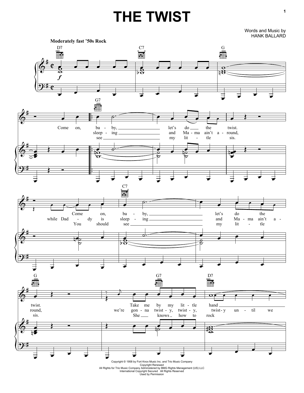 Chubby Checker The Twist sheet music notes and chords. Download Printable PDF.