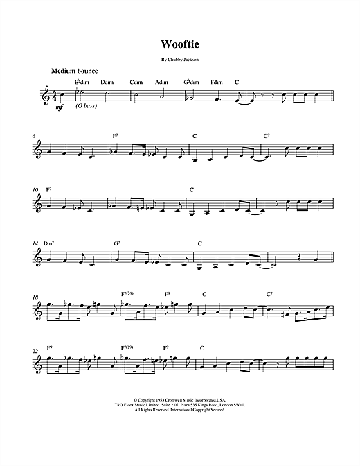 Chubby Jackson Wooftie sheet music notes and chords. Download Printable PDF.