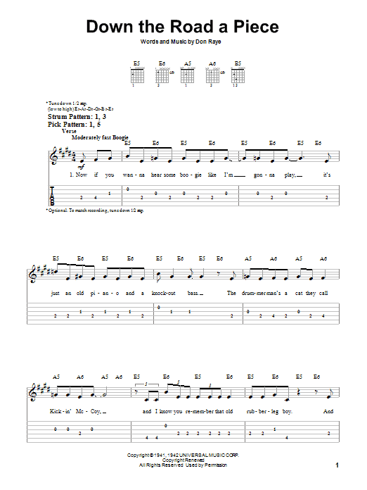 Chuck Berry Down The Road A Piece sheet music notes and chords. Download Printable PDF.