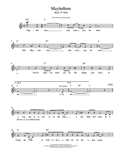 Chuck Berry Maybellene sheet music notes and chords. Download Printable PDF.