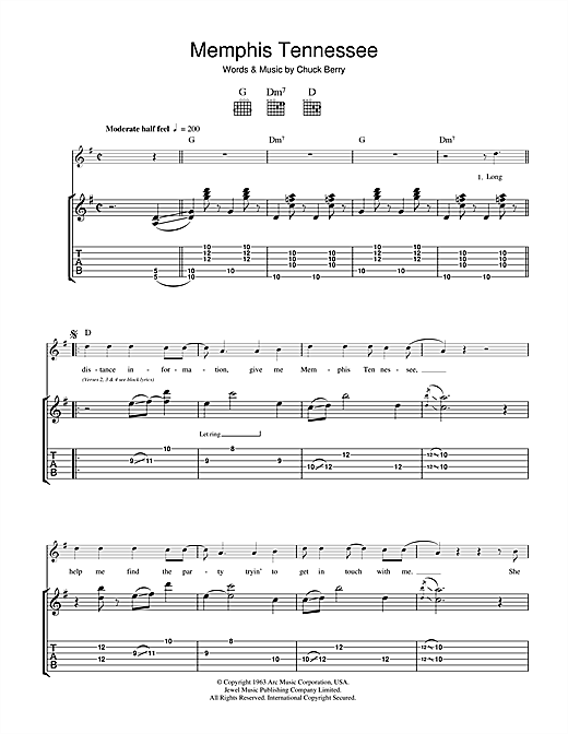 Chuck Berry Memphis Tennessee sheet music notes and chords
