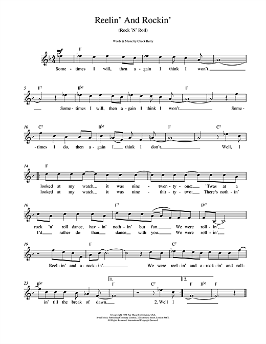 Chuck Berry Reelin' And Rockin' sheet music notes and chords. Download Printable PDF.