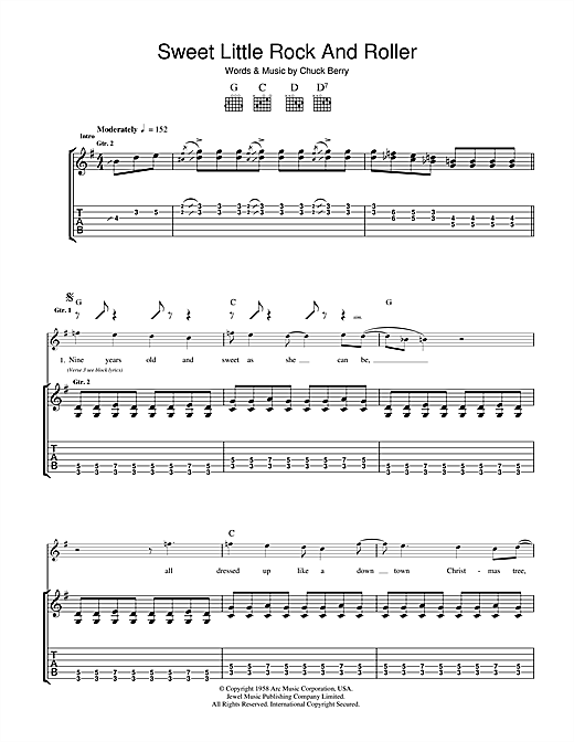 Chuck Berry Sweet Little Rock And Roller sheet music notes and chords. Download Printable PDF.