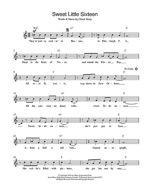 Chuck Berry Sweet Little Sixteen sheet music notes and chords