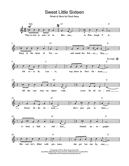 Chuck Berry Sweet Little Sixteen sheet music notes and chords. Download Printable PDF.