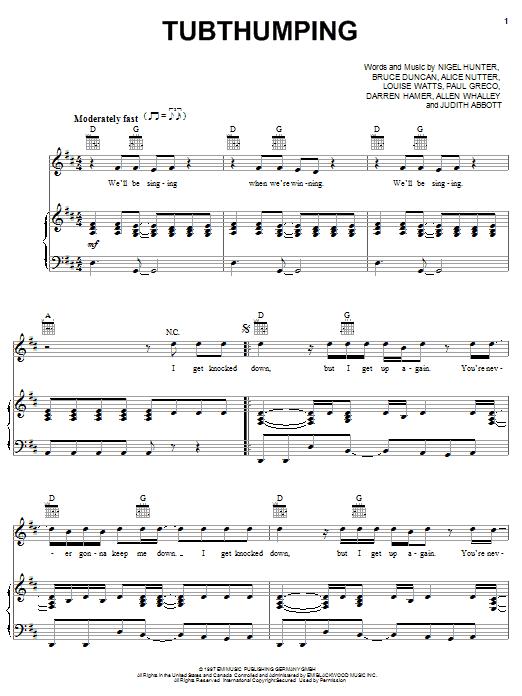 Chumbawamba Tubthumping sheet music notes and chords