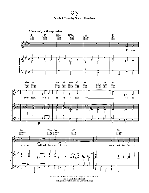 Churchill Kohlman Cry sheet music notes and chords. Download Printable PDF.