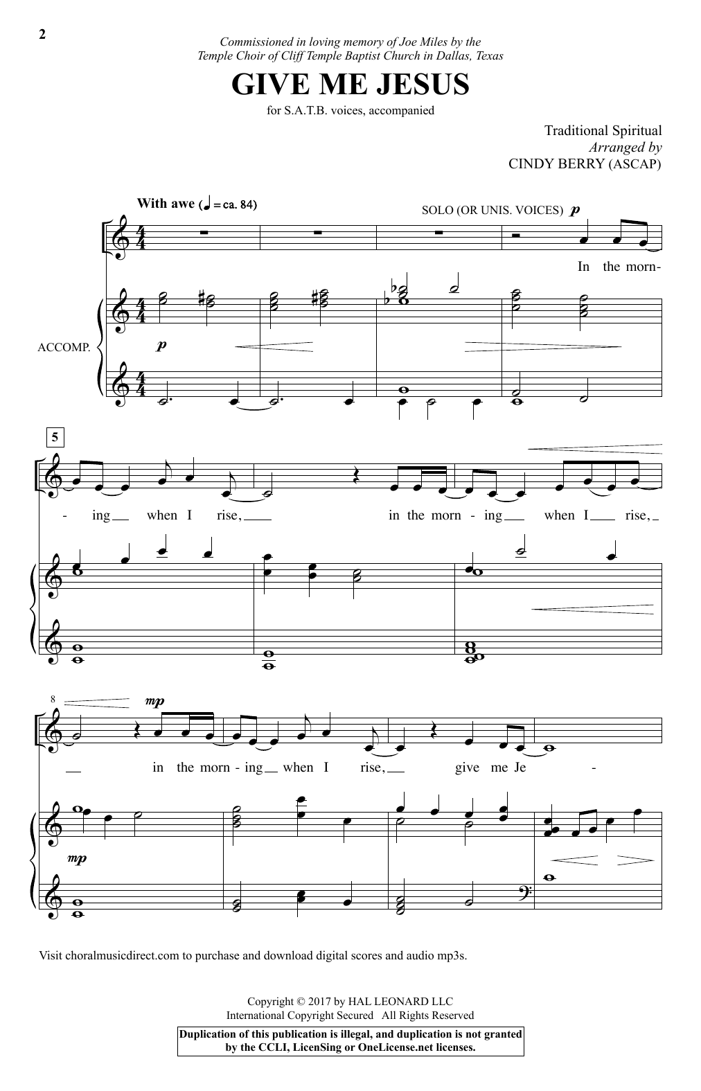 Cindy Berry Give Me Jesus sheet music notes and chords. Download Printable PDF.