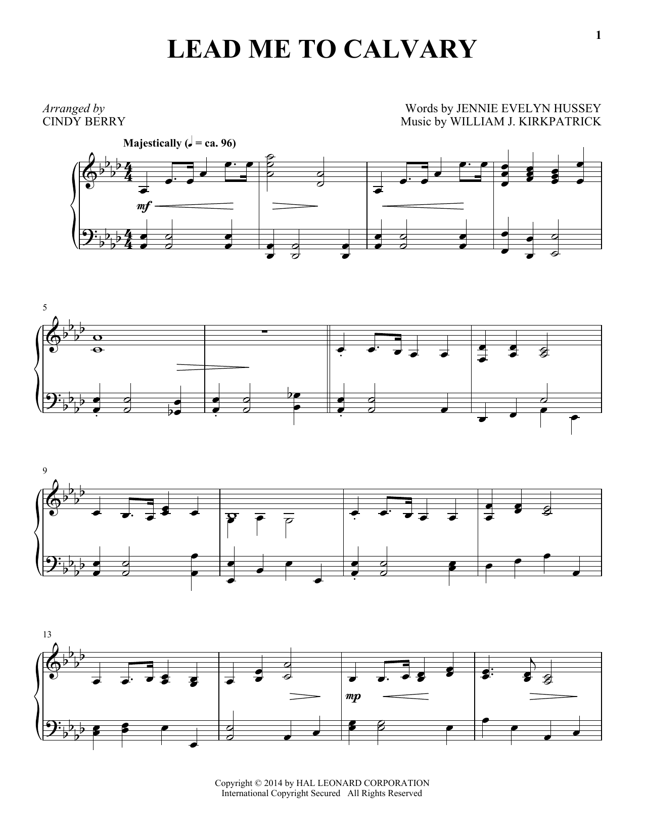 Cindy Berry Lead Me To Calvary sheet music notes and chords. Download Printable PDF.