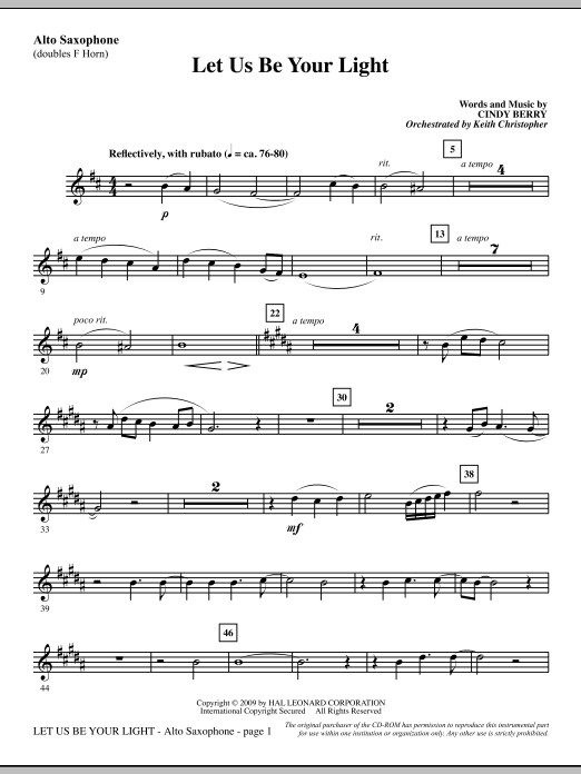 Cindy Berry Let Us Be Your Light - Alto Sax (sub. Horn) sheet music notes and chords. Download Printable PDF.