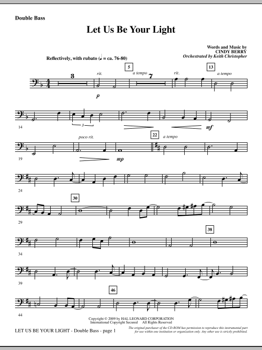 Cindy Berry Let Us Be Your Light - Double Bass sheet music notes and chords. Download Printable PDF.