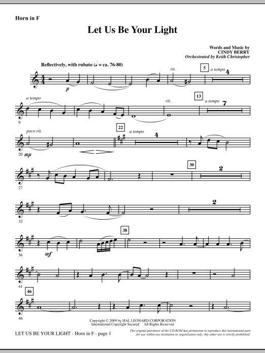 Cindy Berry Let Us Be Your Light - F Horn sheet music notes and chords. Download Printable PDF.