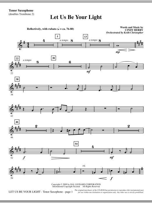 Cindy Berry Let Us Be Your Light - Tenor Sax (sub. Tbn 2) sheet music notes and chords. Download Printable PDF.