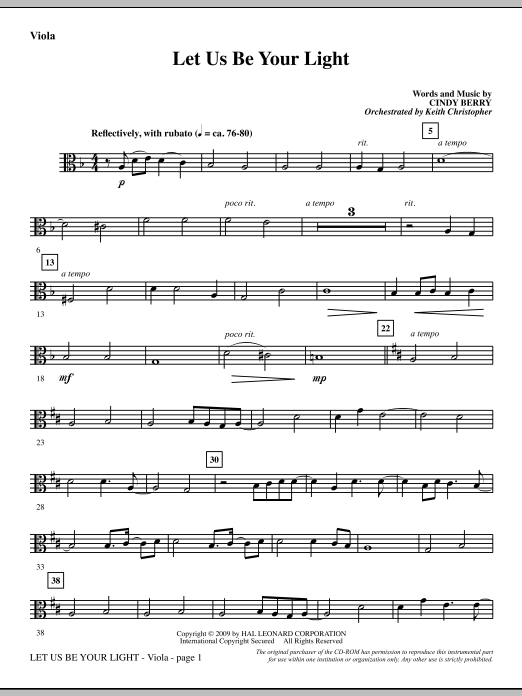 Cindy Berry Let Us Be Your Light - Viola sheet music notes and chords. Download Printable PDF.