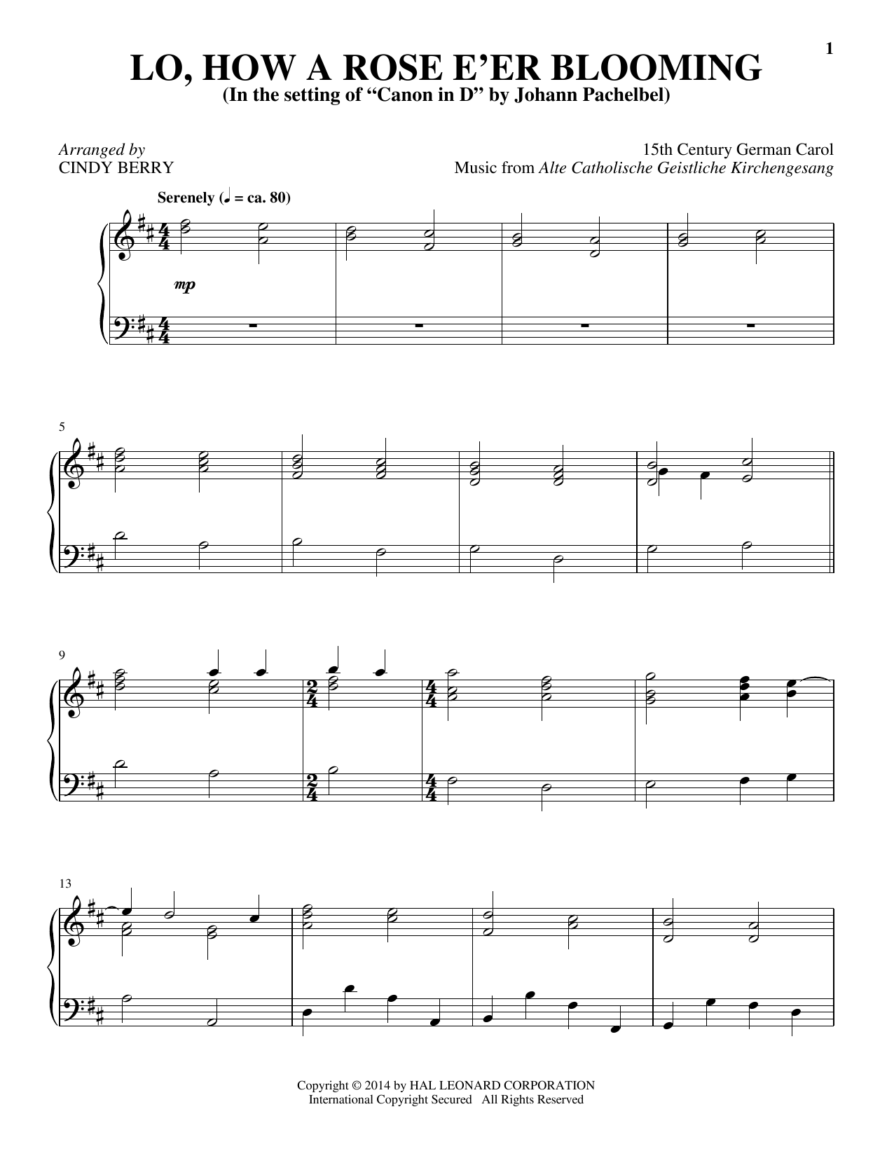 Cindy Berry Lo, How A Rose E'er Blooming sheet music notes and chords. Download Printable PDF.