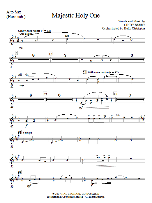 Cindy Berry Majestic Holy One - Alto Sax (Horn sub) sheet music notes and chords. Download Printable PDF.