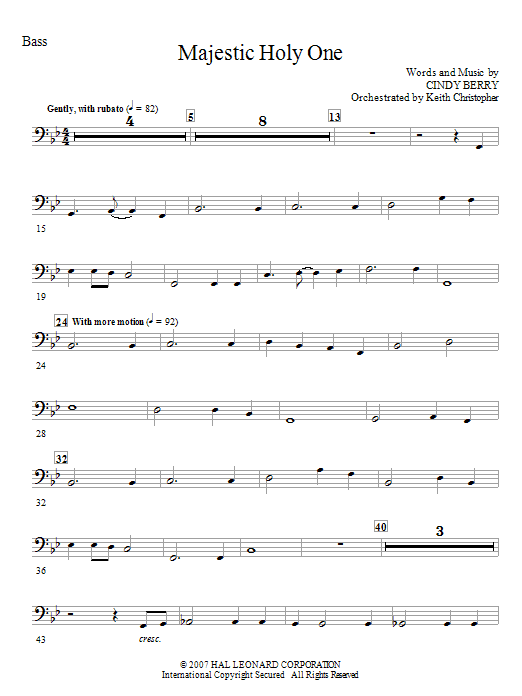Cindy Berry Majestic Holy One - Bass sheet music notes and chords. Download Printable PDF.