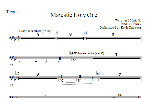 Cindy Berry Majestic Holy One - Timpani sheet music notes and chords. Download Printable PDF.