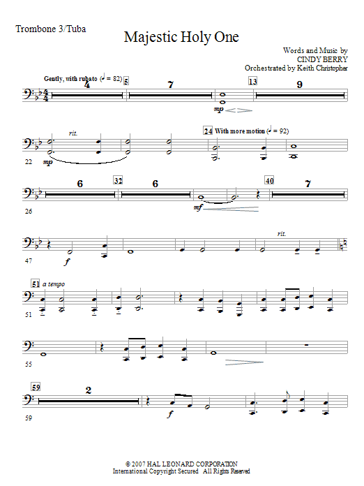 Cindy Berry Majestic Holy One - Trombone 3/Tuba sheet music notes and chords. Download Printable PDF.