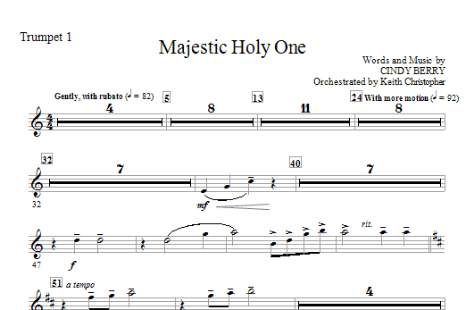 Cindy Berry Majestic Holy One - Trumpet 1 sheet music notes and chords. Download Printable PDF.