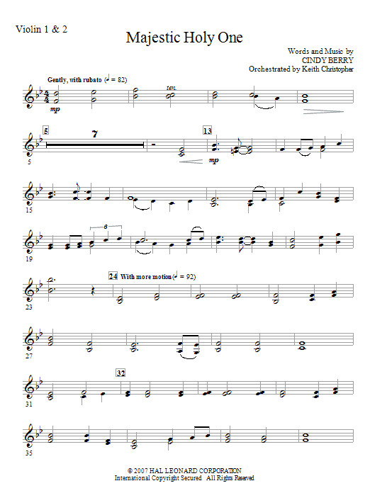 Cindy Berry Majestic Holy One - Violin 1, 2 sheet music notes and chords. Download Printable PDF.