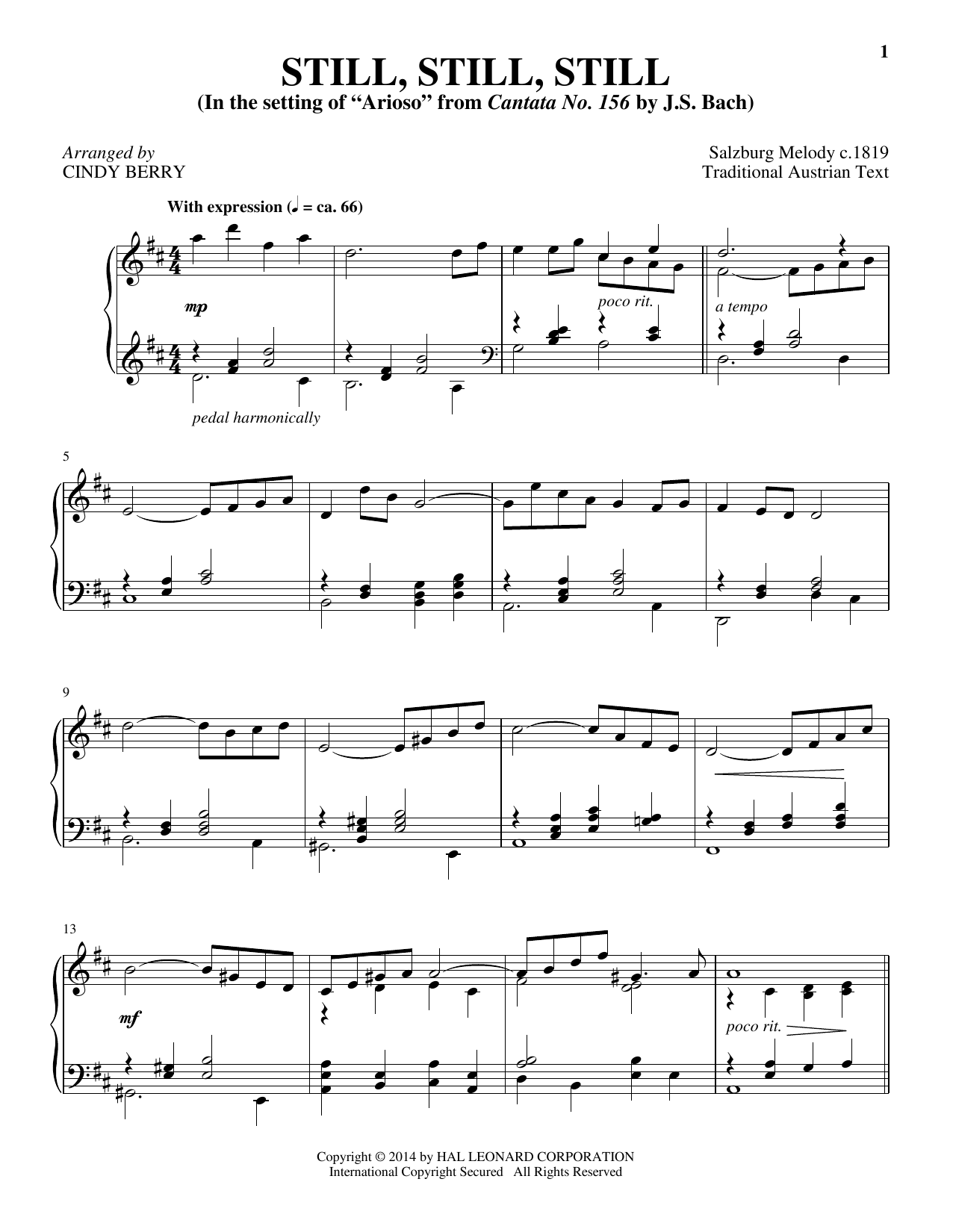 Cindy Berry Still, Still, Still sheet music notes and chords. Download Printable PDF.