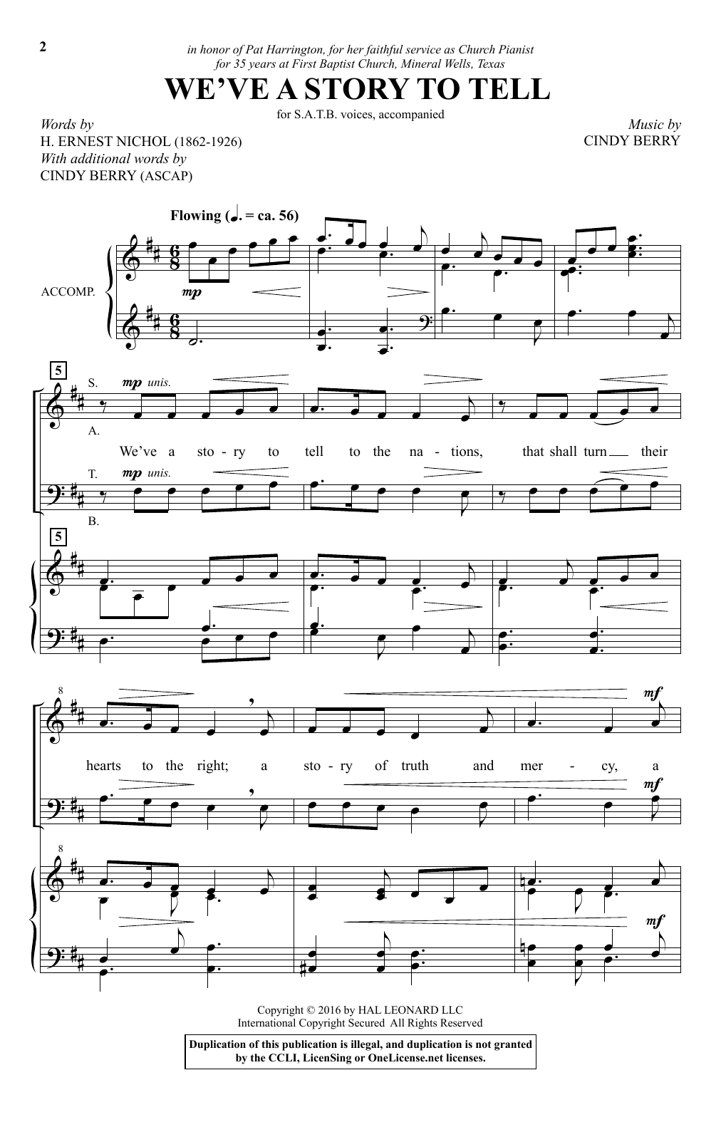 Cindy Berry We've A Story To Tell sheet music notes and chords. Download Printable PDF.