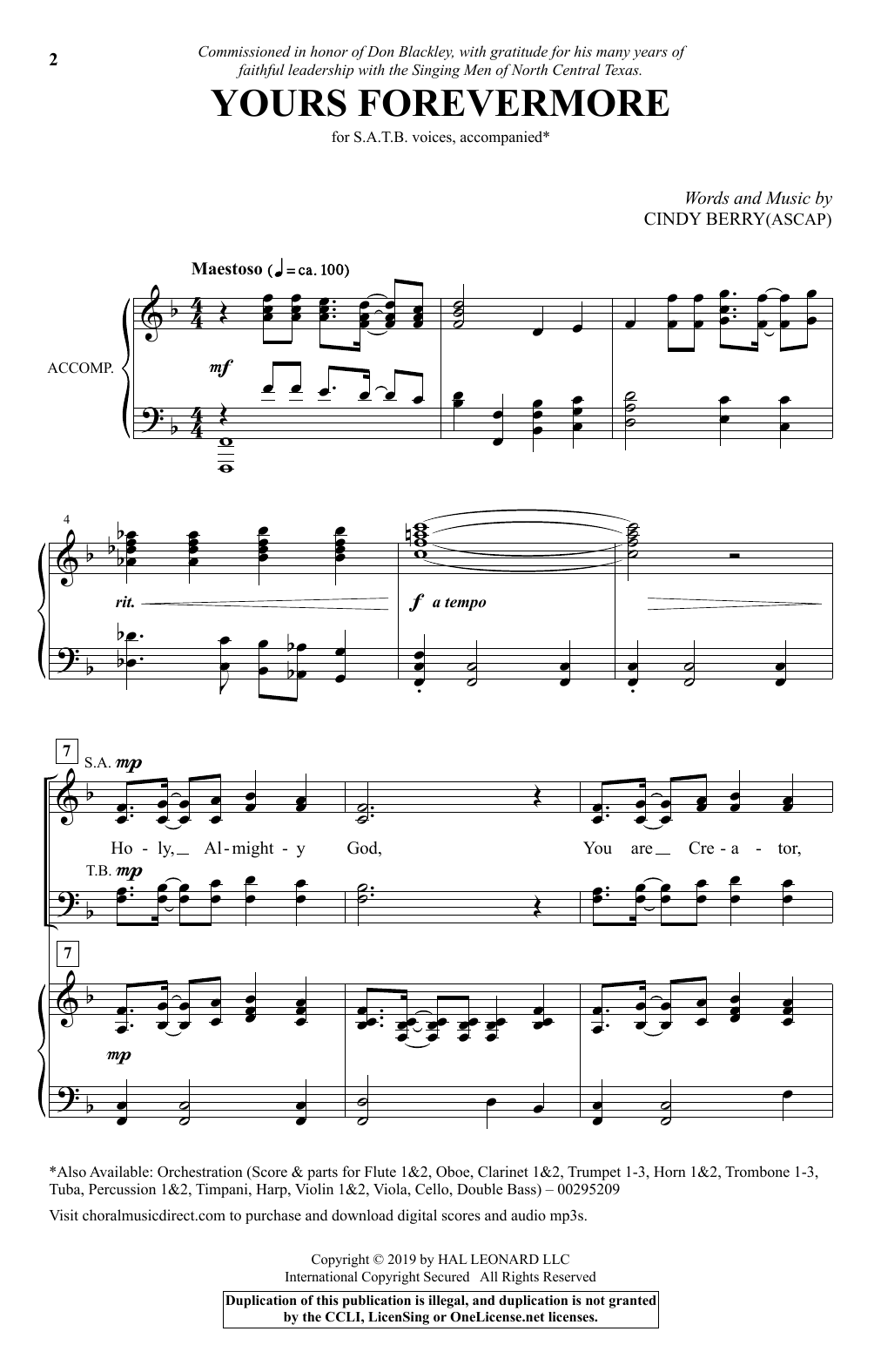Cindy Berry Yours Forevermore sheet music notes and chords