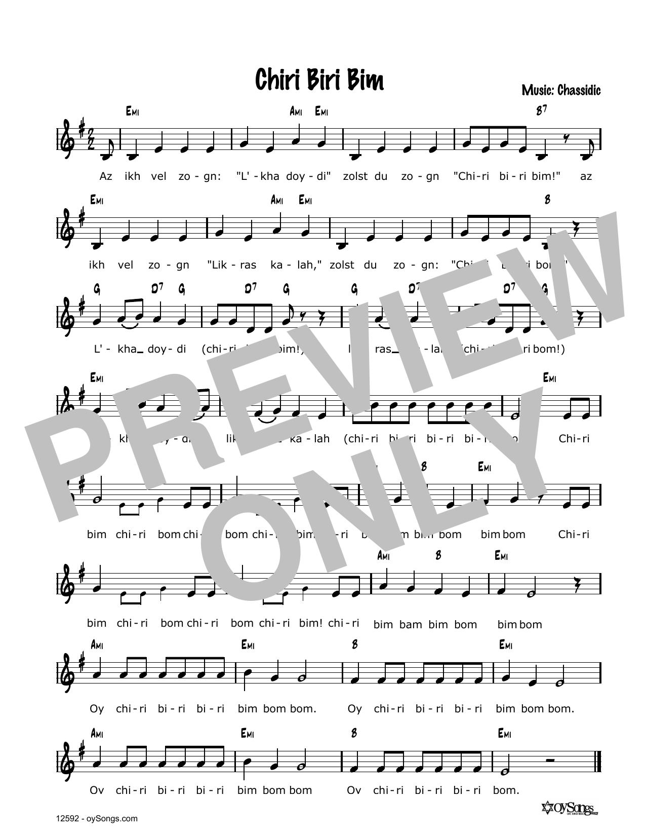 Cindy Paley Chiri Biri Bam sheet music notes and chords. Download Printable PDF.