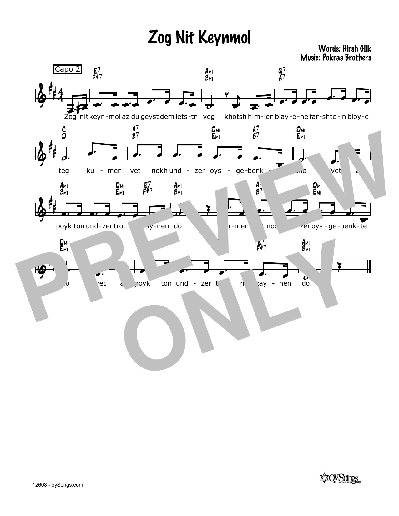 Cindy Paley Zog Nit Keynmol sheet music notes and chords. Download Printable PDF.