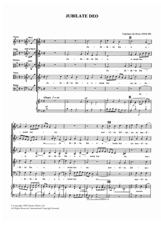 Cipriano de Rore Jubilate Deo sheet music notes and chords. Download Printable PDF.