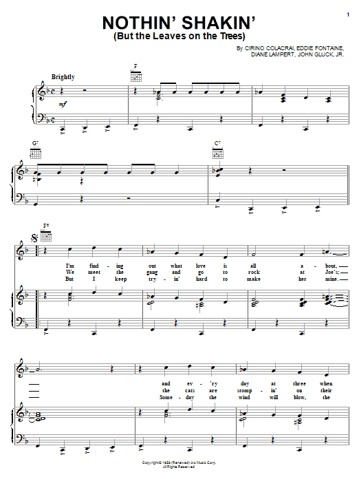 Cirino Colacrai Nothin' Shakin' (But The Leaves On The Trees) sheet music notes and chords. Download Printable PDF.