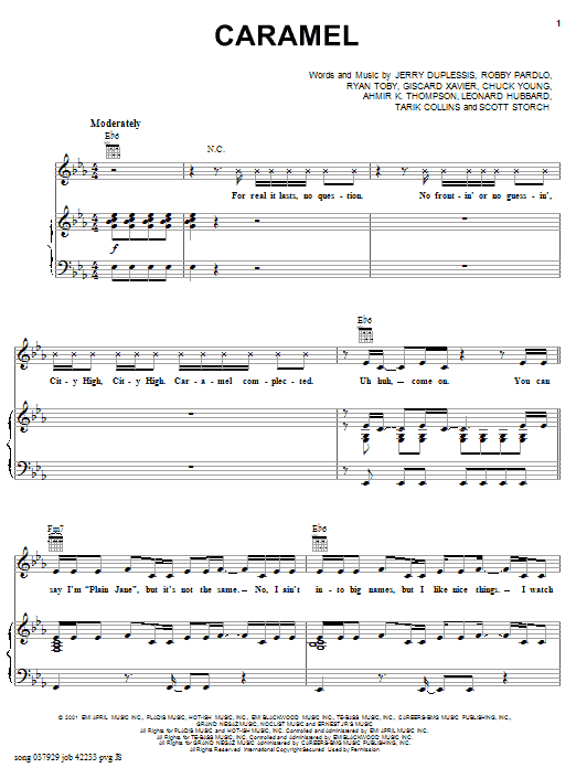 City High Caramel (feat. Eve) sheet music notes and chords. Download Printable PDF.
