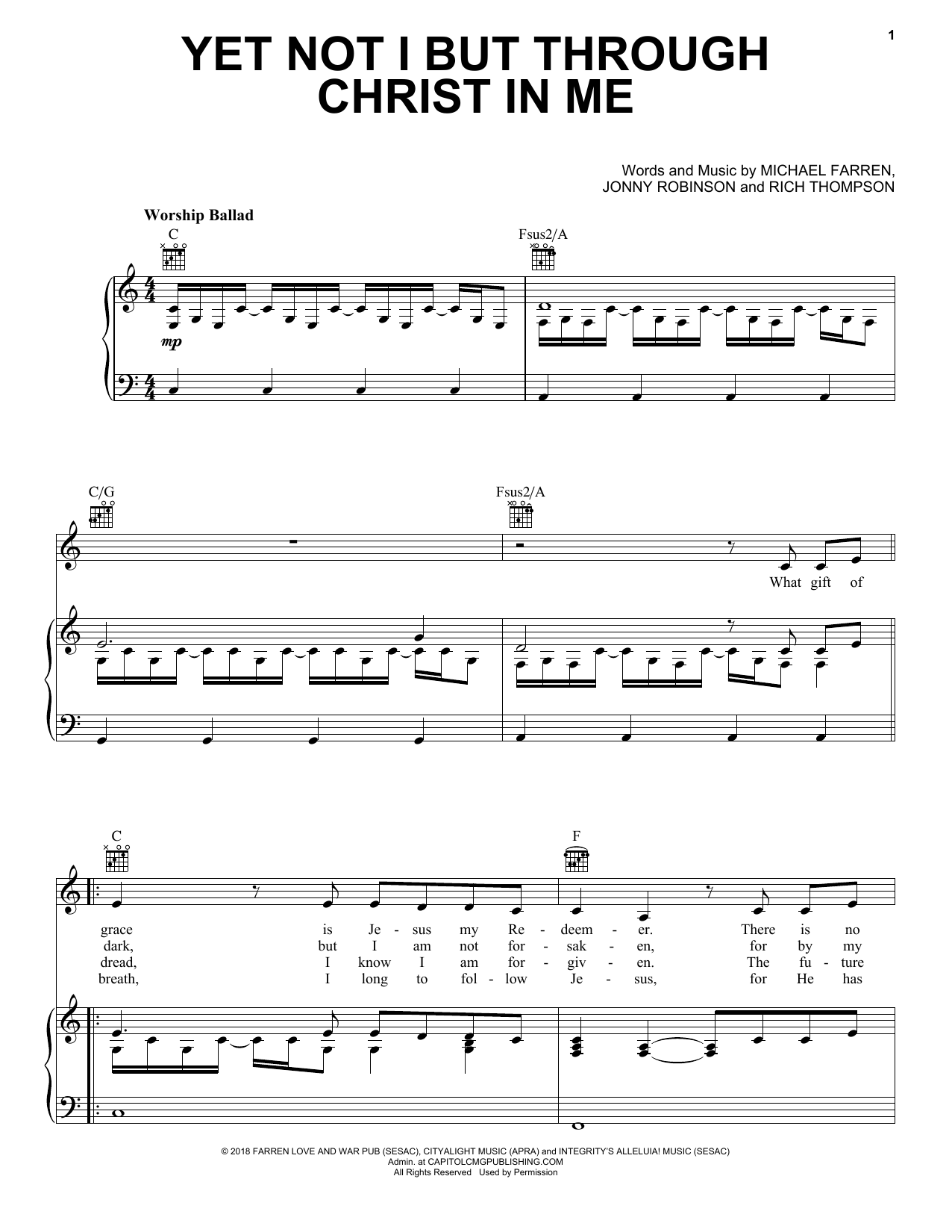 CityAlight Yet Not I But Through Christ In Me sheet music notes and chords. Download Printable PDF.