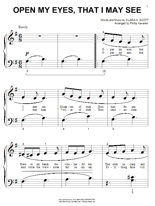 Clara H. Scott Open My Eyes, That I May See sheet music notes and chords. Download Printable PDF.