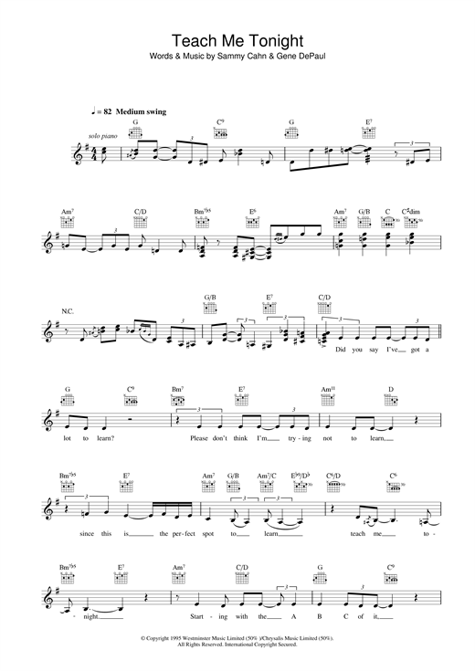 Clare Teal Teach Me Tonight sheet music notes and chords