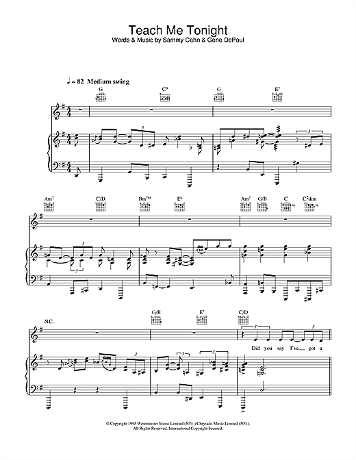 Clare Teal Teach Me Tonight sheet music notes and chords. Download Printable PDF.