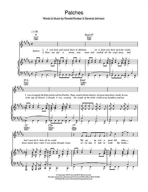 Clarence Carter Patches sheet music notes and chords. Download Printable PDF.